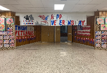 The Farrell High School auditorium entrance decorated for Veterans Day
