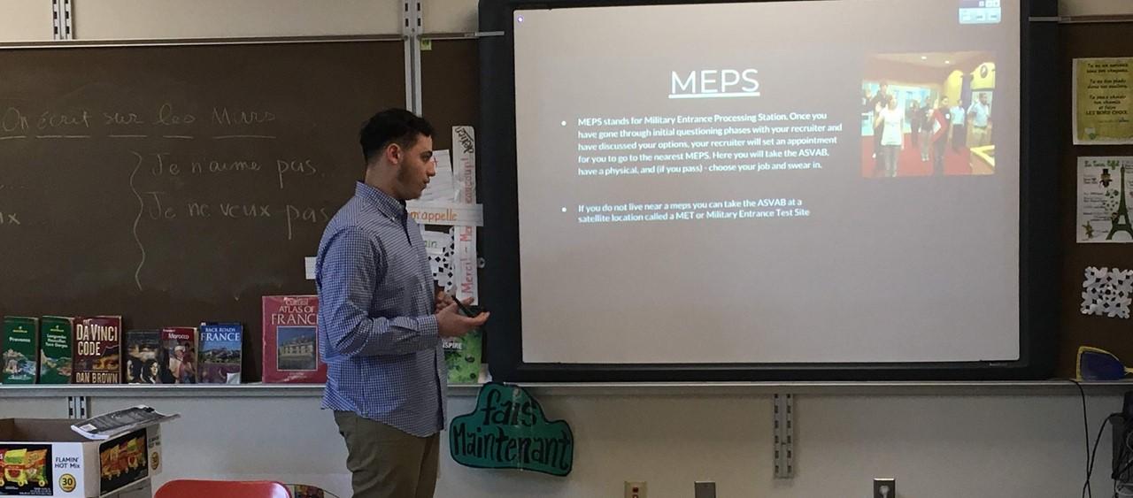 Farrell High School senior giving their senior project presentation