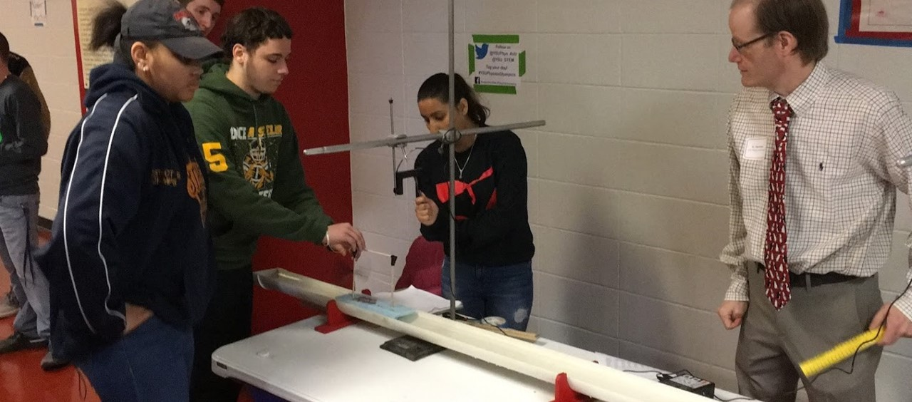 Farrell High School students competing in the Physics Olympics at YSU