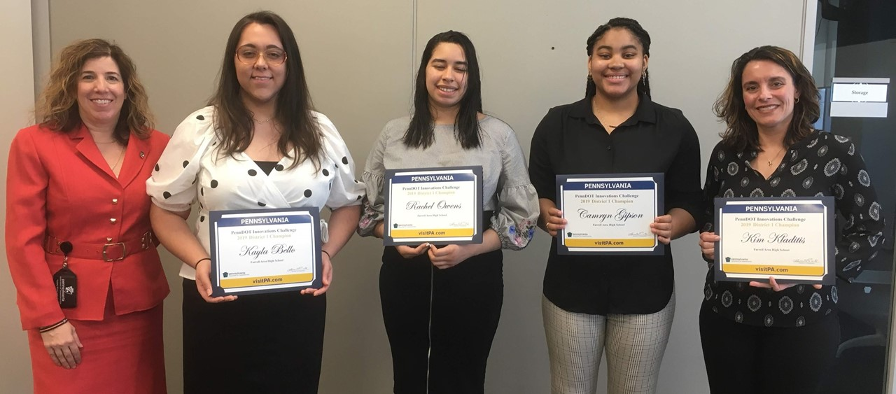 Farrell High School student finalists in the PennDOT Innovation Challenge