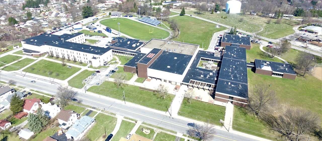 Aerial view of Farrell Area School District captured by drone
