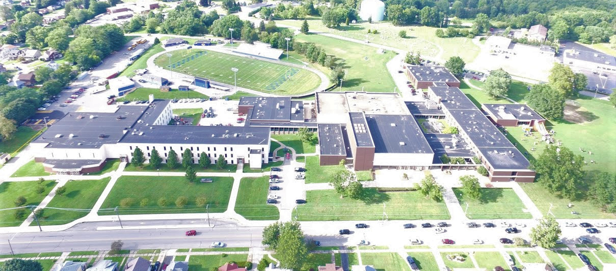 Aerial photo of the Farrell Area School District complex